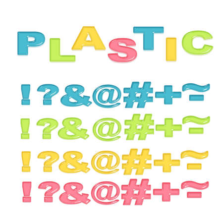 Symbols stylized colorful plastic Illustration