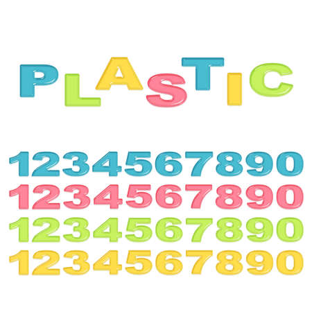 numbers: Numbers stylized colorful plastic Illustration