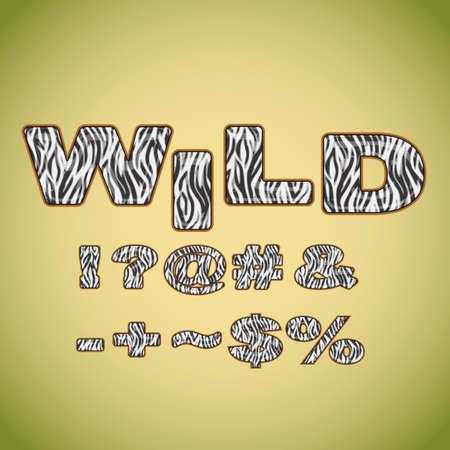 hyphen: Simboli che imitano zebra pelliccia Vettoriali