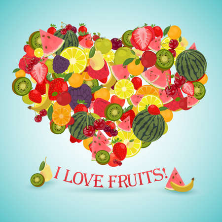 side dish: Heart made of different fruits with the text below