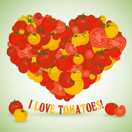 side dish: Heart made of tomatoes with the text below Illustration