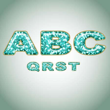 letter q: Alphabet imitating precious shiny surface
