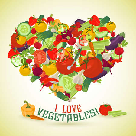 side dish: Heart made of different vegetables with the text below