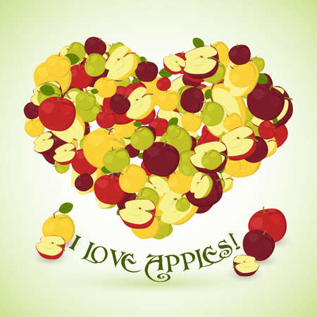 side dish: Heart made of apples with the text below