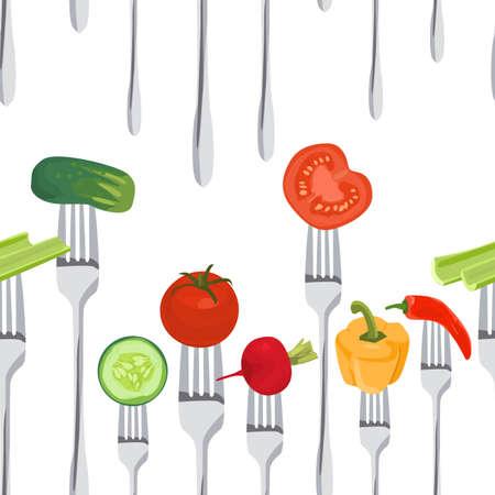 Seamless sfondo colorato fatto di verdure sulle forche