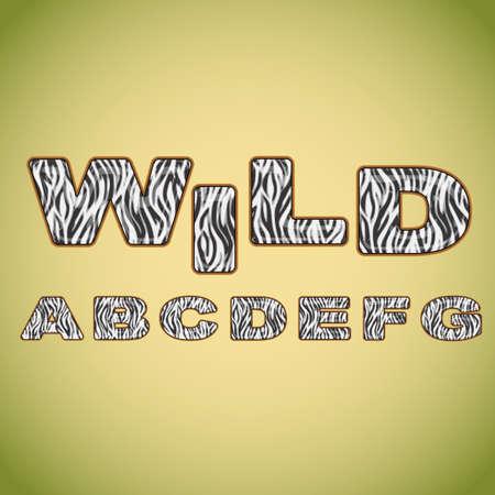 zebra stripes: Alphabet imitating zebra fur Illustration