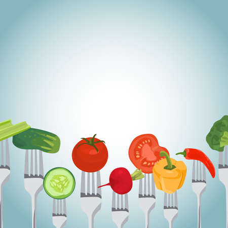 side dish: Colorful Background made of vegetables on the forks