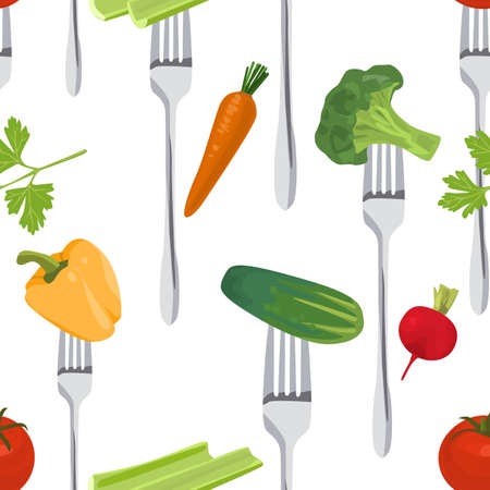 side dish: Seamless Colorful Background made of vegetables on the forks Illustration
