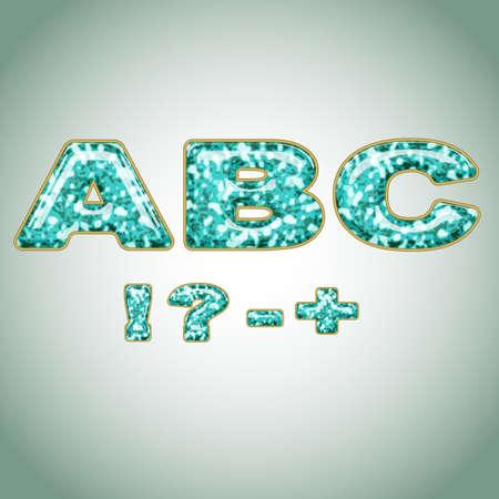 hyphen: Symbols imitating precious shiny surface Illustration