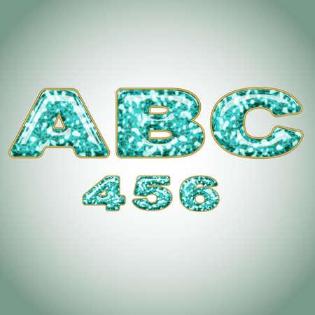 Numbers imitating precious shiny surface Illustration