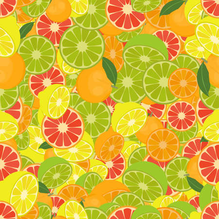citrus fruits: Seamless colorful background made of citrus fruits Illustration