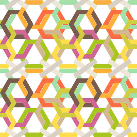 weaved: Seamless colorful background made of weaved hexagons