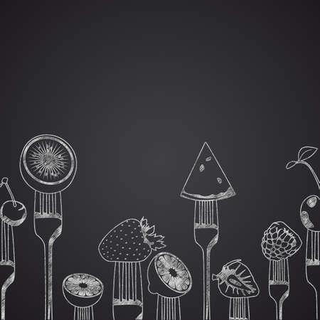 side dish: Fruits on forks drawn on chalkboard