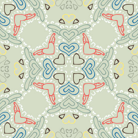 exotic: Seamless colorful background made of exotic pattern Illustration
