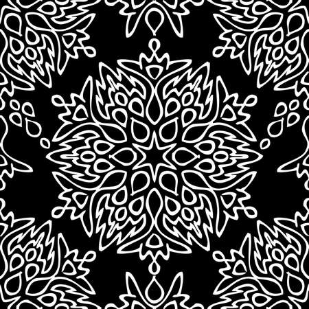 Seamless background made of exotic pattern in black and white colors