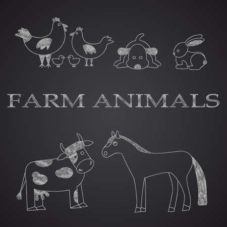 horse cock: Farm animals  drawn on chalkboard. Part 1