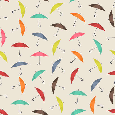 Seamless colorful background made of umbrella Çizim