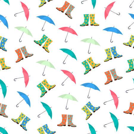 rubberboots: Nahtlose bunten Hintergrund der Regenschirm und Gummistiefel hergestellt