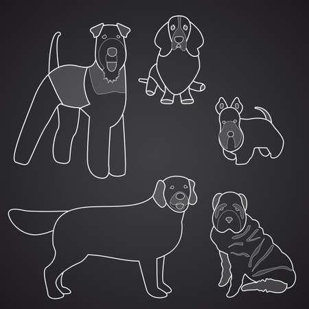 Different breeds of dogs in linear style.