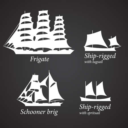 Silhouettes of different Ships in white color.