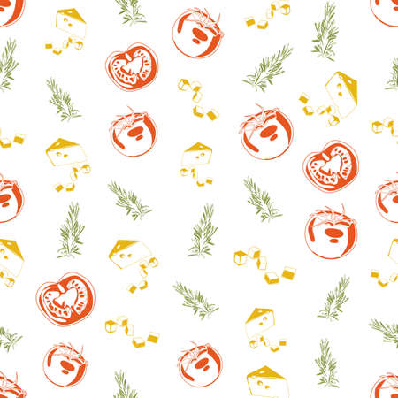garden stuff: Seamless background made of cheese, rosemary and tomato in linear style