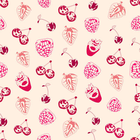 raspberry pink: Seamless background made of berries in linear style Illustration
