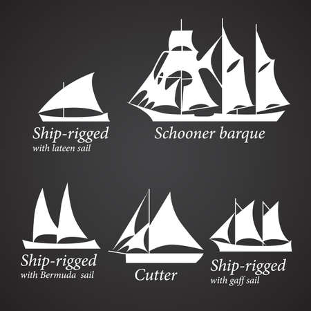 schooner: Silhouettes of different Ships in white color.