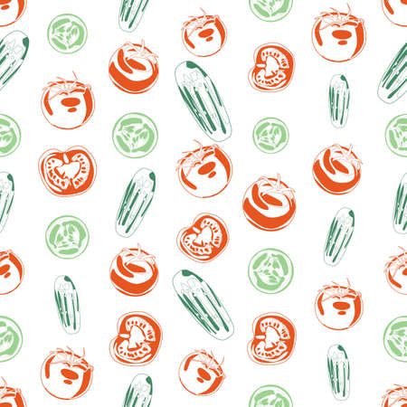 garden stuff: Seamless background made of cucumber and tomato in linear style