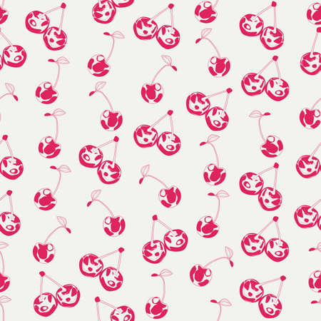 Seamless background made of cherry in linear style