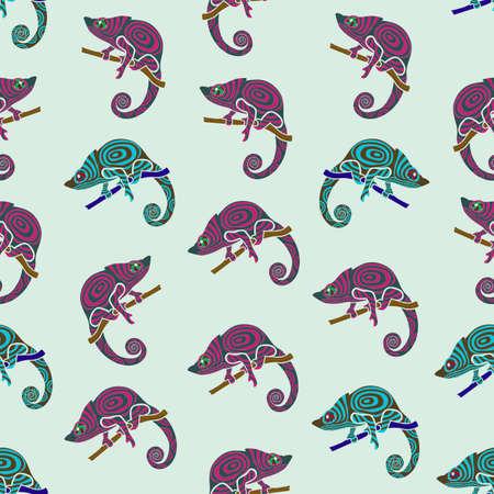 chameleons: Seamless colorful background made of chameleons