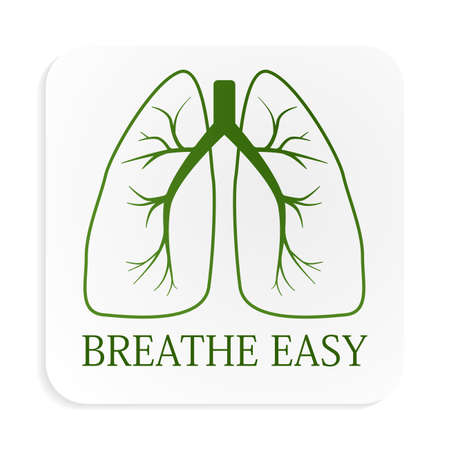 breathe easy: Image of green lungs on white button