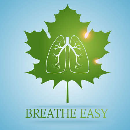 breathe easy: Image of maple leave with figure of lungs