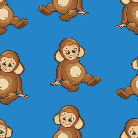 cute babies: Fondo incons�til con el beb� vestido como mono Vectores