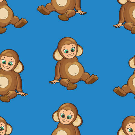 cute animal cartoon: Seamless Background with baby dressed like monkey Illustration