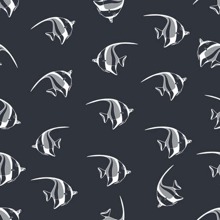 exotic fish: Seamless background made of exotic fish in linear style