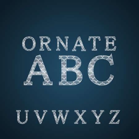 white color: Ornate Alphabet in white color