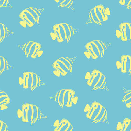 exotic: Seamless background made of exotic fish in linear style