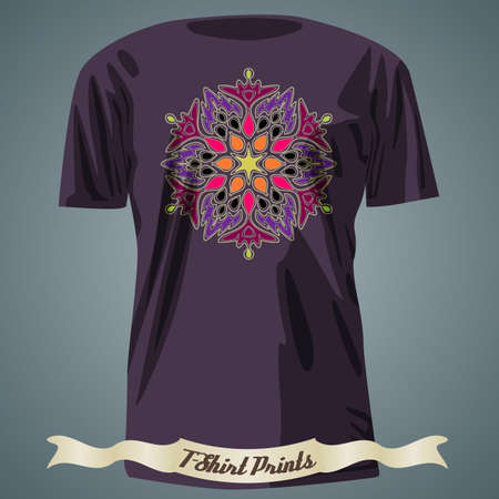 exotic: T-shirt design with colorful ornate exotic ornament