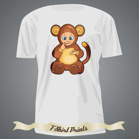 chango bebe: T-shirt design with cartoon of cute baby monkey