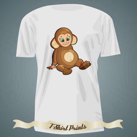 baby monkey: T-shirt design with cartoon of cute baby monkey