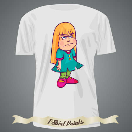 T-shirt design with cartoon of surly girl Illustration