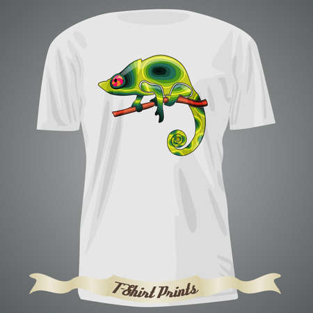 colofrul: T-shirt design with abstract green chameleon Illustration