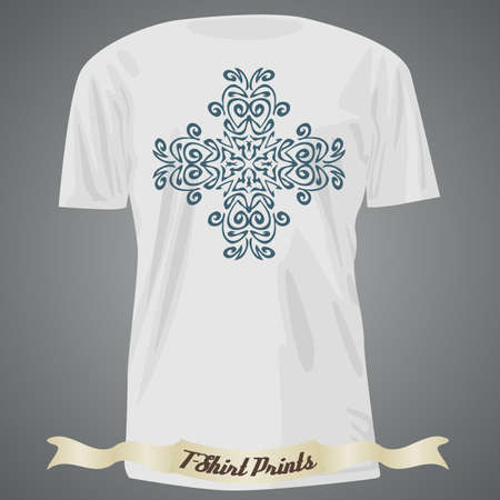 exotic: T-shirt design with ornate exotic cross