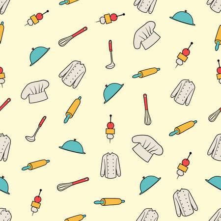 stuff: Seamless colorful background with kitchen stuff Illustration