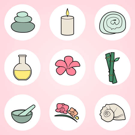 spa stuff: Collection of spa icons on white circles