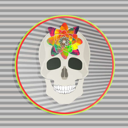 stripped background: Abstract skull with colorful flower in colorful circle frame on the stripped background Illustration