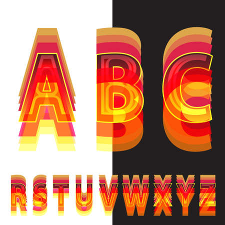Abstract alphabet in warm colors Vector Illustration
