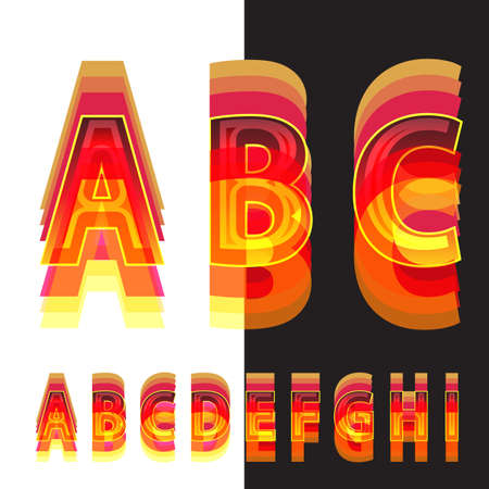 warm colors: Abstract alphabet in warm colors