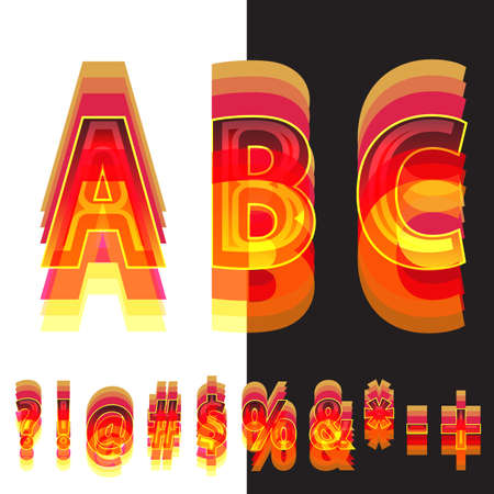 hyphen: Abstract symbols in warm colors