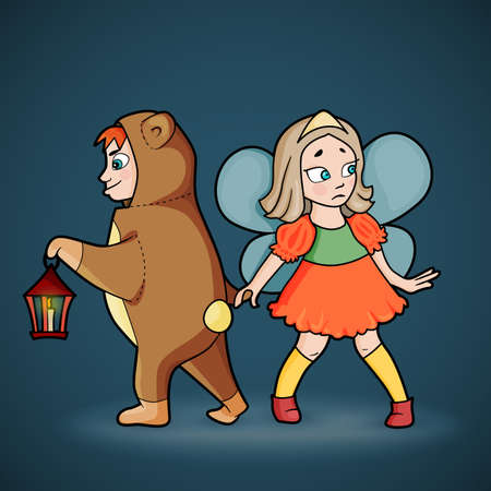 knee sock: Cartoon of boy in costume of bear with lantern in hand and girl with fairy wings sneaking in darkness